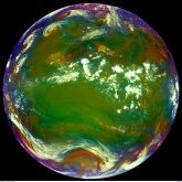 RGB composite to detect airmasses 19/9-12 (copyright 2012 EUMETSAT).