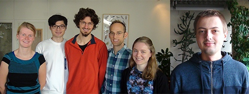 New PhD students at MISU. From left: Evelin Dekker, Cheng You, Sebastian Scher, Jakob Beran and Karolina Seigel. Photo: Susanne Ekman, MISU.