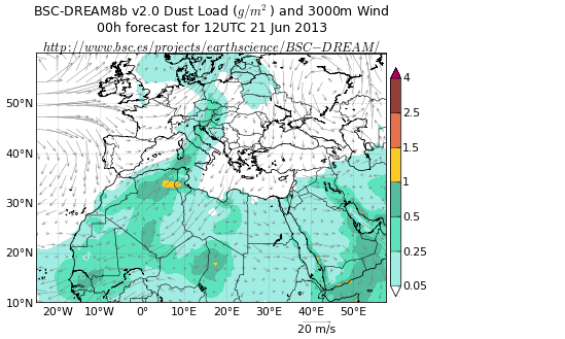 Figure 1: Forecast of the DREAM dust transport model of the Barcelona Supercomputing Center in Barcelona, Spain, for the early afternoon of 21 June 2013. A tongue of Saharan dust extends all the way from North Africa over central Europe to Scandinavia.