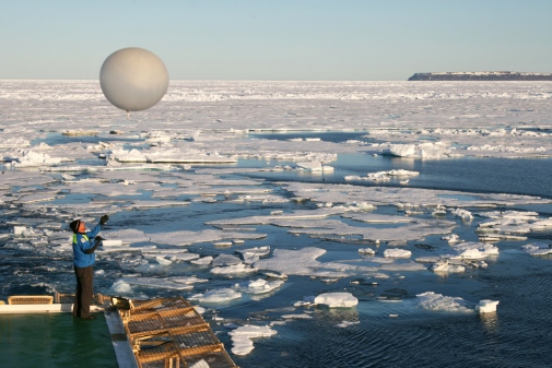 Weather balloon released in the Arctic.
