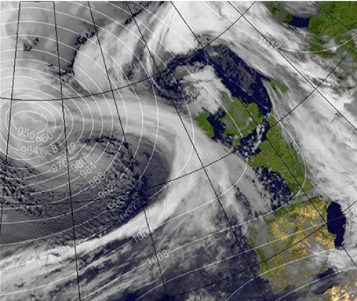 Storm Aileen hits the UK, bringing 75mph winds. Image: MetOffice.