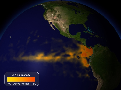 Intensity of El Niño. Credit: NOAA Visualization Lab.