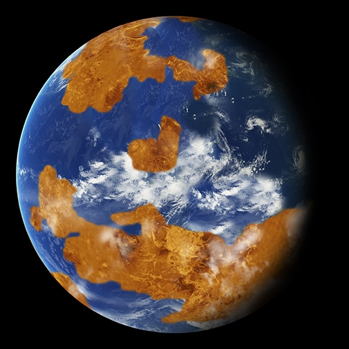 Land-Ocean pattern used to model clouds shielding Venus, making the planet habitable. Credits: NASA.
