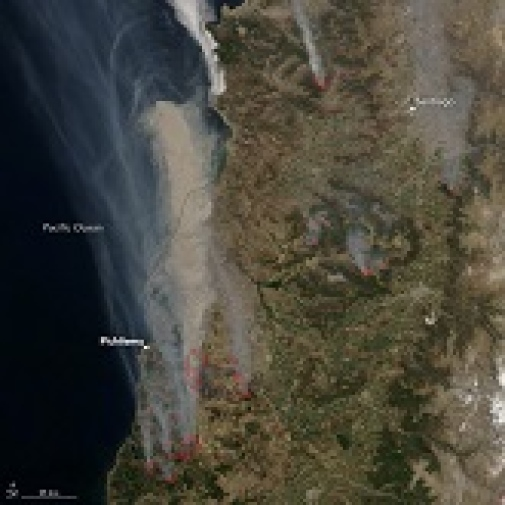 Chile during fire catastrophy in 2017. Photo by NASA.